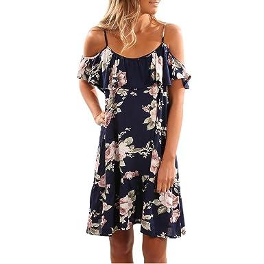 bd9691562b25 Damen Kleider Frauen Dress Blau Sommerkleider Vintage Blumenkleid  Ärmelloses Blume Bedruckt Minikleid Halfter Strandkleid Abendkleid Großen  Größen ...