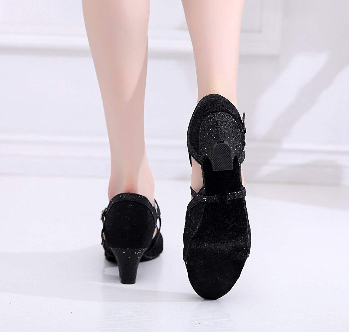 Qiusa Damen Cross Strap Strap Strap Schwarz Spitze Salsa Latin Dancing Schuhe Formale Partei Pumps UK 8 (Farbe   - Größe   -) 8d9304
