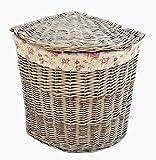 Small Antique Wash Corner Linen Basket With Garden Rose Lining