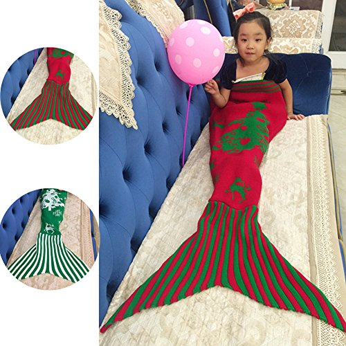 NOPTEG Mermaid Tail Blanket Handmade Crocheted Living Room Sofa Blanket Sleeping Bag Birthday Gift for Kids 59inch x31.5 inch(Red)