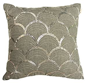 """Suzanne by Artistic Linen Sequin Decorative Throw  Pillow, 18 x 18"""", Grey"""