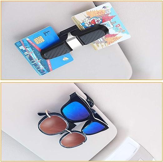 Porte-lunettes pour pare-soleil de voiture clip de support de lunettes de soleil support de lunettes de suspension support de lunettes de voiture rotatif /à 180 degr/és avec clip de carte de billet