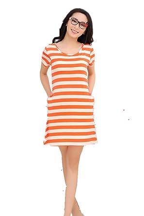BIFINI Women's Built in Shelf Bra Short Sleeve T-Shirt Dress ...