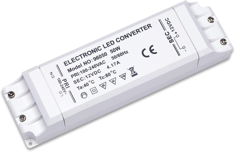 Yafido LED Transformador 220V a 12V Trafo 50W 4.17A LED Driver Fuente de Alimentación para Bajo Voltaje Bombillas G4 MR16 GU5.3 MR11 Tira LED