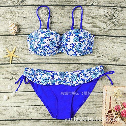 YONGYI Europa y el elegante y Verano Sra. playa Bañadores Bañador de porcelana China viento bikini de dos piezas traje de baño dividida