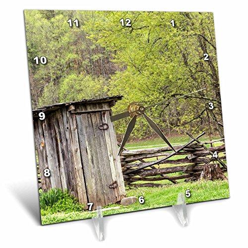 North Carolina Desk Clock - 3dRose Danita Delimont - North Carolina - Outhouse, Pioneer Homestead, Great Smoky Mountains NP, North Carolina - 6x6 Desk Clock (dc_259798_1)