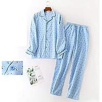 Pijama De Manga Larga Para Mujer,Patrón Azul Claro