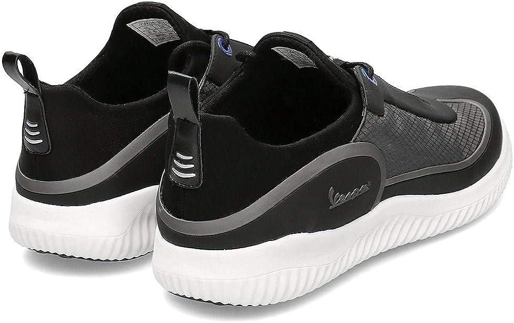 Vespa - Chaussures de Tennis désinvolte Spark avec des Lacets, pour Hommes et Femmes Noir