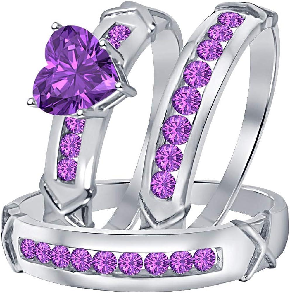 Lady//Women/'s//Men/'s 14KT White Gold Filled Amethyst Wedding Ring Gift size 8
