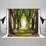10ft(W) x6.5ft(H) Green Trees Photography Backdrop Spring Nature Scenic Photo Background for Photographer Cotton Cloth Free Wrinkle