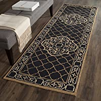 Safavieh Easy to Care Collection EZC729D Hand-Hooked Black and Gold Runner (26 x 8)