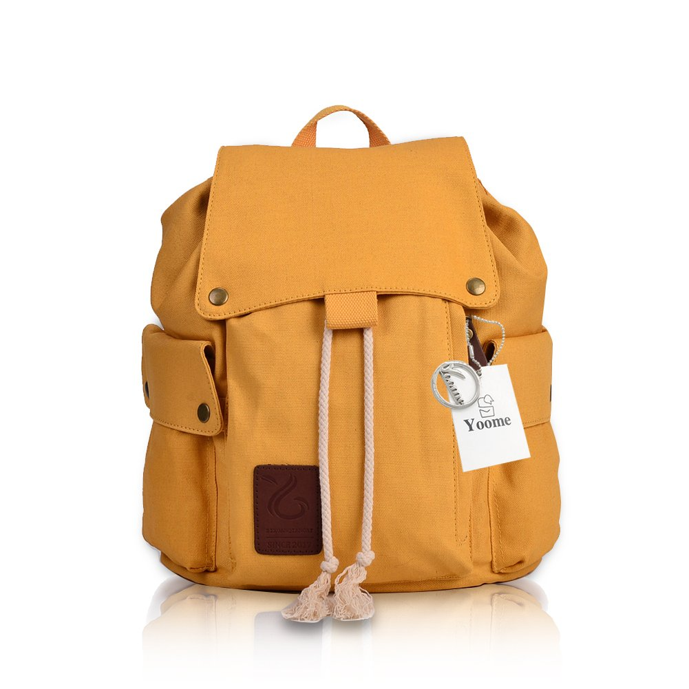 Yoome Unisex Pure Cotton Canvas Backpack Laptop Outdoor Backpack Chest Bag Lightweight Shoulder Bag Yellow