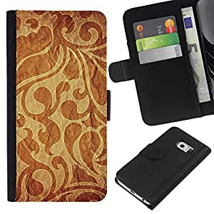 KingStore / Leather Etui en cuir / Samsung Galaxy S6 EDGE / Modelo del papel pintado tela de materia textil Dise?o Brown
