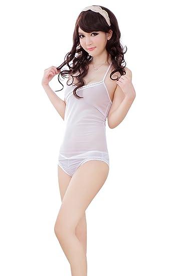 Shangrui Mujer Delgada Ropa Interior Blanca Delgada de Pijamas Sin Respaldo W557