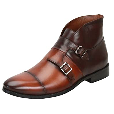 b222d0504066 Brune TAN Brown Double Monk Strap Ankle Boots for Men  Buy Online at Low  Prices in India - Amazon.in