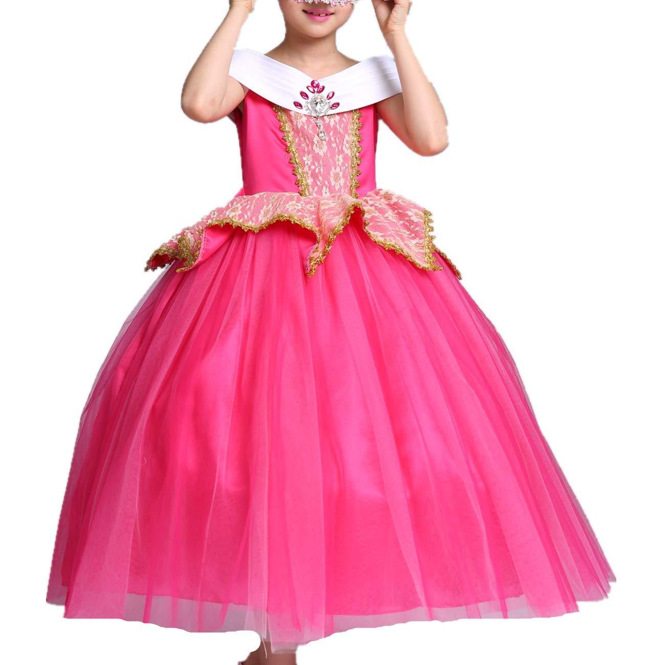LOBTY Disfraz de Princesa Aurora para Niñas Rosa Traje de ...