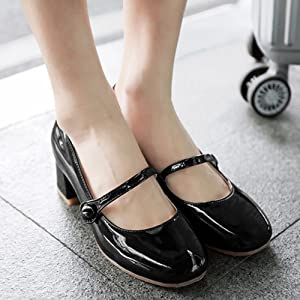 591795141986e Zanpa Women Cute Mary Janes Low Heels Court Shoes Patent Black Size ...