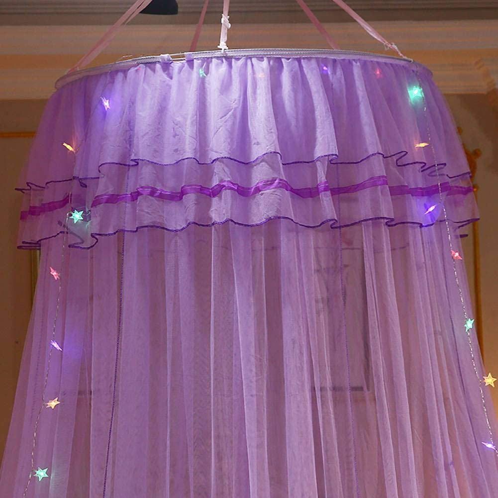 Hankyky Princess Bed Canopy Romantic Round Dome Double Ruffles Mosquito Net for King Queen Full Twin Size Bed
