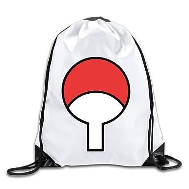 Bydhx Naruto Uchiha Symbol Logo Drawstring Backpack Bag White