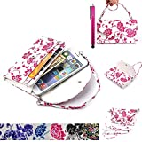 LG G3 Case, JCmax [Gorgeous and noble style] PU Leather Pocket Handbag [Card & Money Holder] With Blue & White Porcelain Graphic Flower Design Case For LG G3 - Red