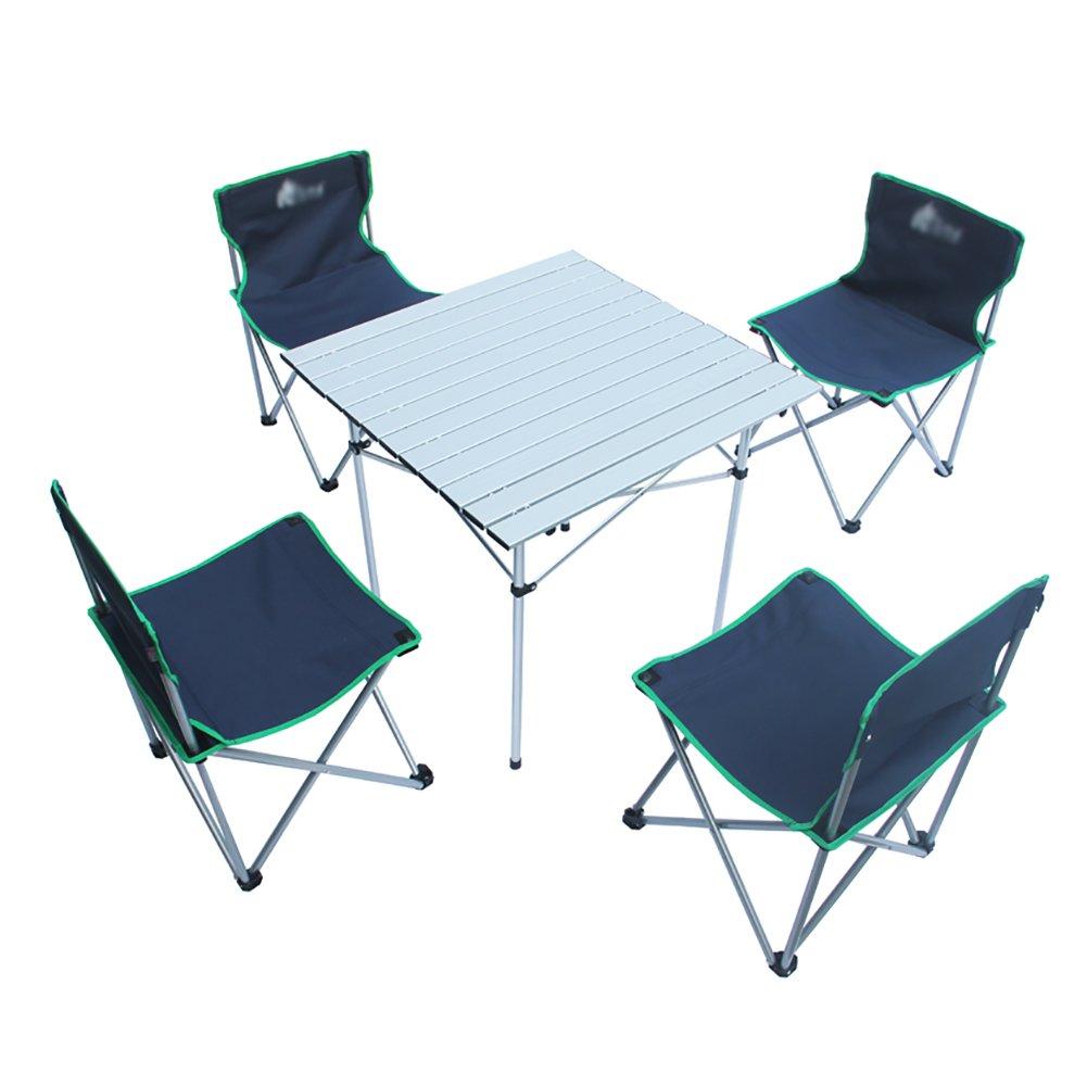アウトドアキャンプ用アルミテーブル折りたたみテーブルチェアセットバーベキューピクニックテーブルチェアコンビネーション自転車ツアーテーブルチェア (色 : ローズレッド) B07D5P3CX1 紺 紺