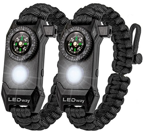 LEDway Paracord Bracelet Tactical Survival Gear Kit 6-IN-1- 70% Larger Compass LED SOS Emergency Function Flashlight -Fire Starter Emergency Knife & Whistle (Black / Black Adjustable size) -