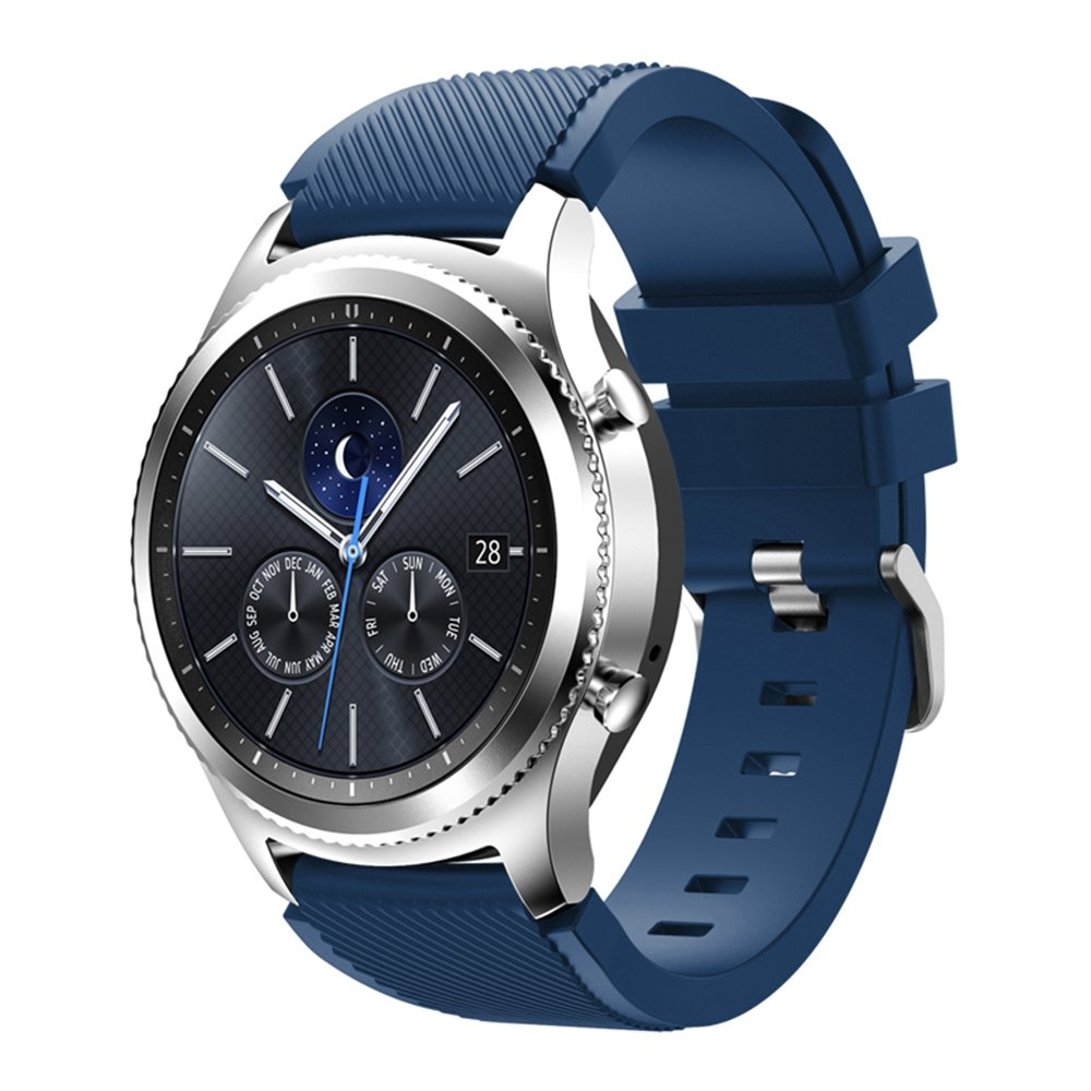 Compatible for Samsung Galaxy Watch Band 46mm, Gear S3 Band Silicone Strap Sport Wristband Replacement Band for Samsung Gear S3 Frontier/Gear S3 Classic Watch Band Bracelet Accessory (Dark Blue)