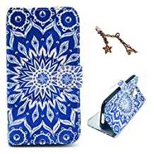 Uming® Retro Colorful Pattern Print Leather case for Apple Iphone 4S 4G 4 IPhone4 IPhone4S Apple4S PU Flip Leather Holster with Stand Stander Holder Hand Free Credit Card Slot Wallet Hasp Magnet Magnetic Button Buckle Shell Protective Mobile Cell Phone Case Cover Bag + 1 x Anti Dust Plug - Sun Totem