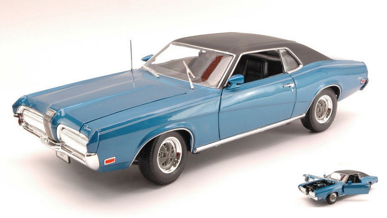 NEWES Welly WE2521BL Mercury Cougar XR 7 1970 Blau 1:18 MODELLINO DIE CAST Model