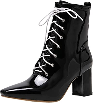 haoricu Womens Sweet Bow Heel Ankle Booties Pointed Toe Side Zipper Lace-Up Boots