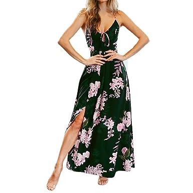 27d577d061fe Damen Lange Strandkleid Maxikleid Partykleid Blumendruck V-Ausschnitt Strap  Träger Rückenfrei Kleider Split Kleid Beiläufiges