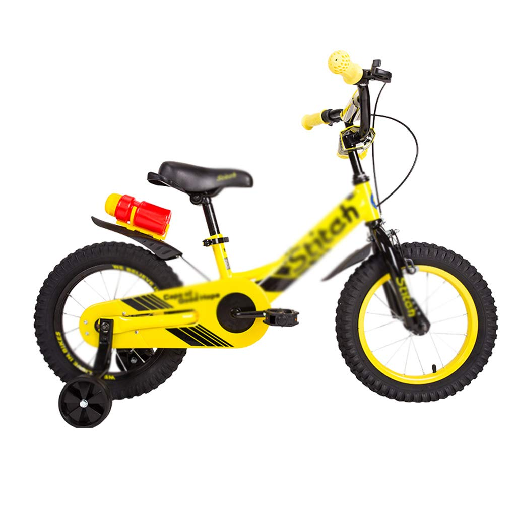 Bici per bambini Resistente all'Usura Antiurto per Bambini e Ragazze da 12 14 Pollici in Bicicletta per Bambini (Colore   giallo, Dimensione   14inch(97  16  52cm))
