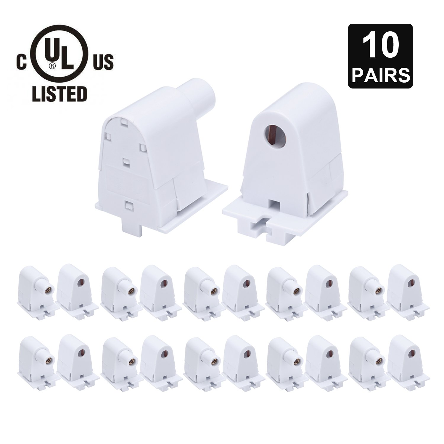 JOMITOP 10 Pairs Tombstone Base Holder Socket Connector with T8 Single Pin FA8 8ft LED Bulb Light Replacement Fluorescent Plunger