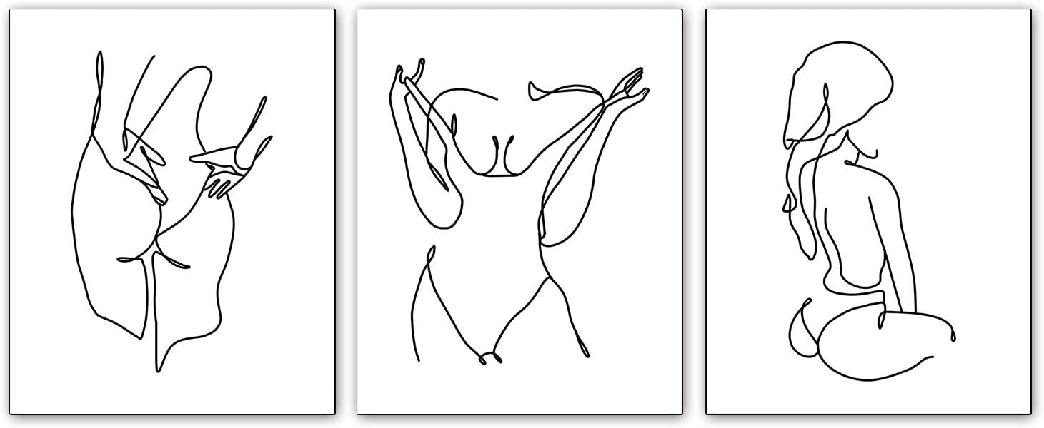 Black and White Line Fashion Women Art Prints Set of 3 Prints Stick Figure Printing Gift for Women Canvas Rose Pictures Prints Wall Art for Bedroom Bathroom Home Decor 8X10 inches No Frame