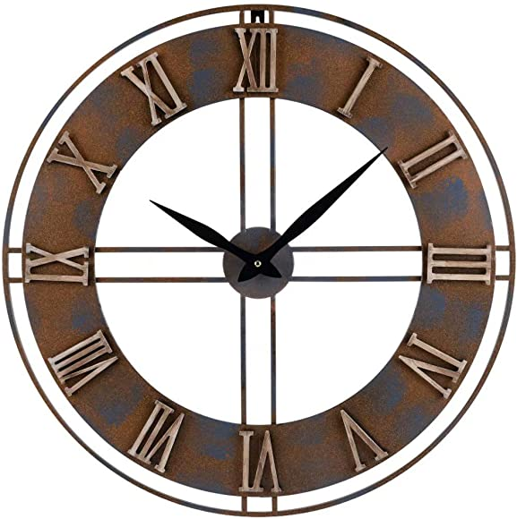 23.6-Inch Oversized Rustic Metal Silent Non-Ticking Battery Operated Decorative Wall Clock