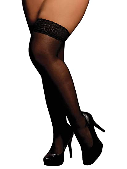 069871713e8 Amazon.com  Lacy Line Plus Size Sexy Sheer Thigh High Stockings With Lace  Top (Plus Size