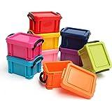 Kurtzy, Useful Plastic Storage Organiser Box - 9 x 0.22 Litre Storage Boxes in Assorted Colour - Mini Stackable Plastic Storage Boxes with Clip on Lids
