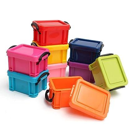 Pack de 9 Mini Cajas de Plástico Apilables para Almacenar Tapas con Cierre de Broche por