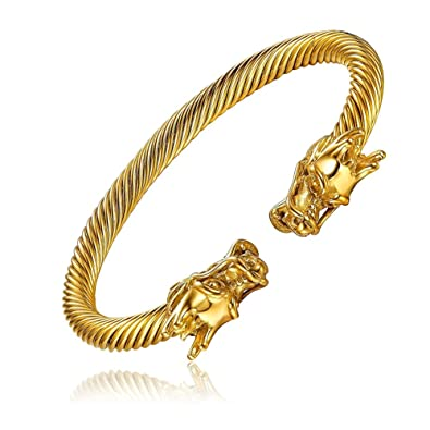 rope chain stainless steel twisted pin jewelry plated byzantine bracelet bling gold
