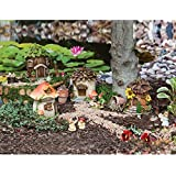 "New Creative Outdoor-Safe Mini Garden Polystone Fairy Houses, Set of 4 - 5.5""W x 5.75""D x 6.75""H"