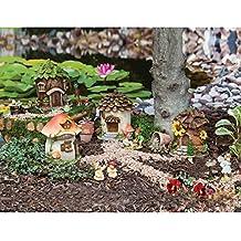 "New Creative Outdoor-Safe Mini Garden Polystone Fairy Houses, Set of 4 - 5.5""W x 5.75""D x 6.75""H"