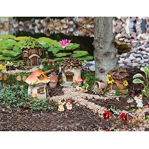 Set Fairy Garden (Evergreen Garden New Creative Outdoor-Safe Mini Garden Polystone Fairy Houses, Set of 4-5.5