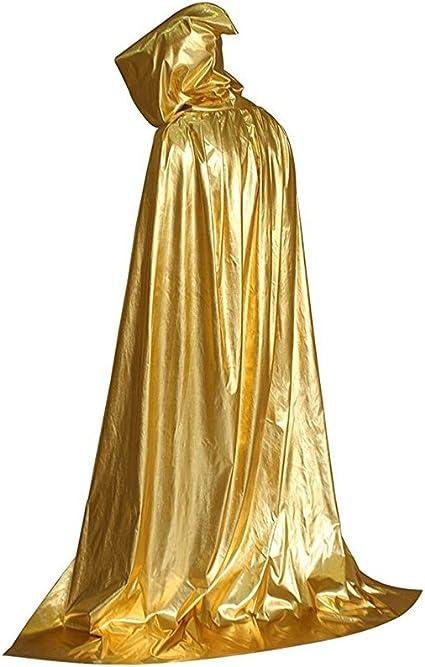 GRACIN Halloween Full Length Cloak Shiny Hooded Cape Men Women Mardi Gras Christmas Costume