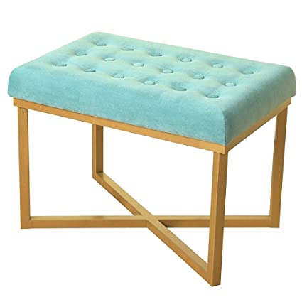 Vanity Bench Seat Stool Teal Upholstered Bed End Tufted Velvet Ottoman  Entryway Furniture Modern Dining Bench