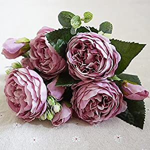 Beautiful Rose Peony Artificial Silk Flowers small bouquet flores home party spring wedding decoration mariage fake Flower - Purple 70