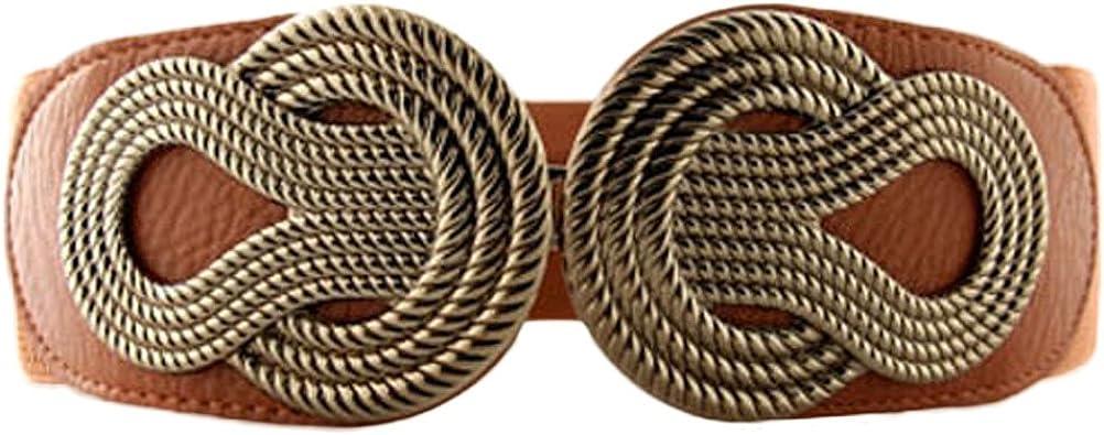 TALLA L. Cinturón de cintura ancha elastizada de las mujeres en diseño de hebilla trenzada de estilo vintage