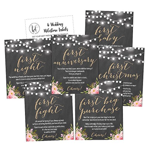 6 Chalk Flower Wedding Milestones Gift Wine Bottle Labels or Sticker Covers, Rustic Floral Bridal Shower Bachelorette Engagement Party Present Perfect Best Registry Bride To Be Firsts For The (Wedding Wine Bottle Labels)