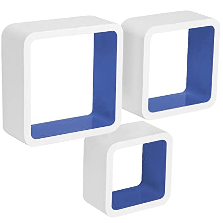 woltu floating shelves dark blue white cube wall shelves set of 3 rh amazon co uk