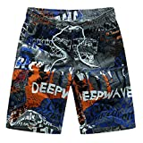 Jiayit Men Teen Boys Swim Trunks Fashion Casual Printing Patchwork Beach Surfing Loose Shorts Pants Men's Holiday Travel Style