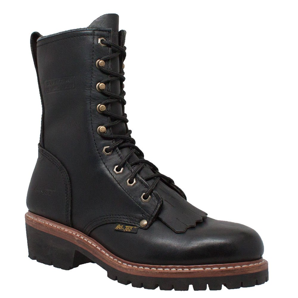 AdTec Mens Black 10in Fireman Logger Kiltie Leather Work Boots 14 W by Hyprad